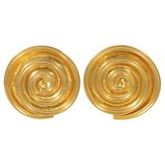 Ilias laLaounis Gold Coiled Disc Earclips