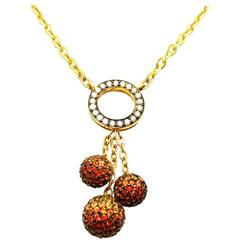 18K White gold Three Balls Necklace with Orange, Yellow Sapphire and Diamond