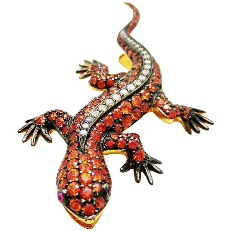 Gecko Brooch with Orange Sapphire and Diamond
