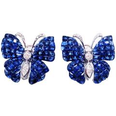 Sapphire Diamond Gold Butterfly Stud Earrings
