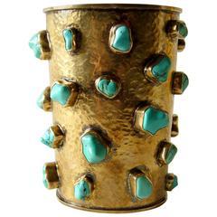 Celia Harms Sterling Vermeil Turquoise Cuff Bracelet