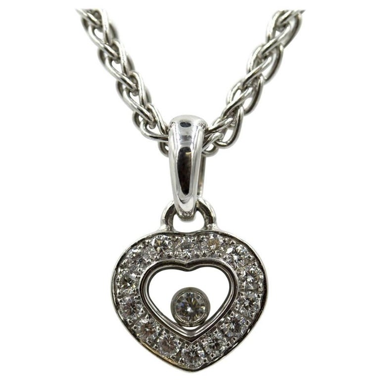 Chopard Happy Heart Floating Diamond 18 Karat White Gold Pendant Necklace
