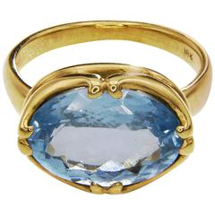 Large Oval Rose-Cut Aquamarine Gold Ring