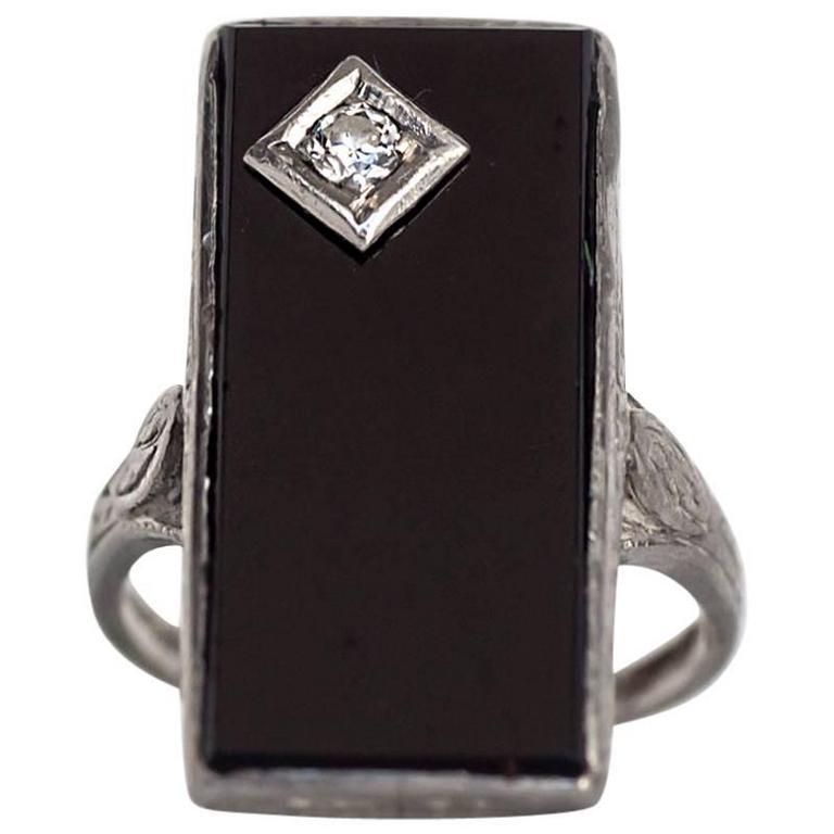 1920s Art Deco Platinum Black Onyx and Old European Cut Diamond Ring