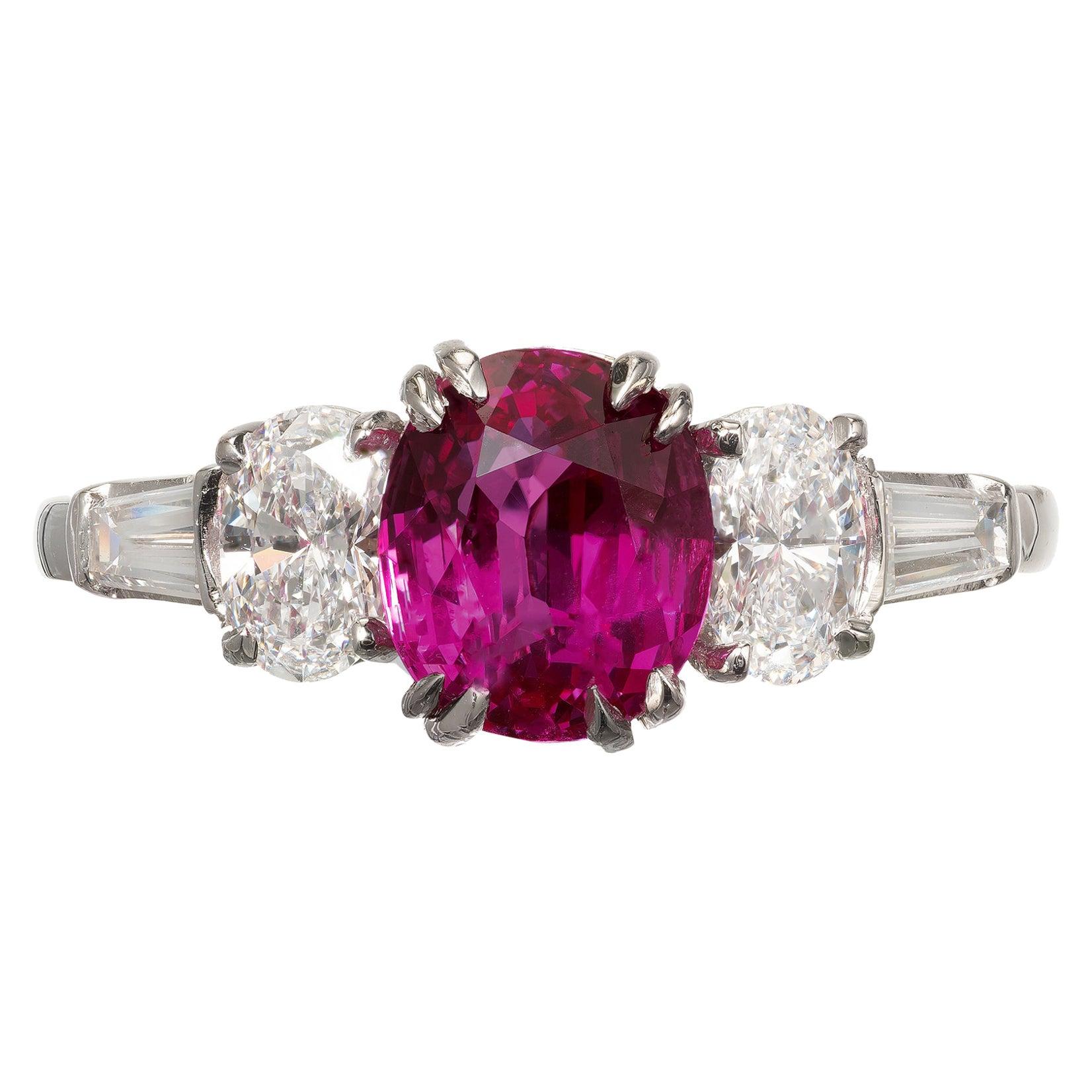 Peter Suchy 2.23 Carat Burma Myanmar Red Ruby Diamond Platinum Engagement Ring