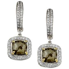 Rough Green Diamond Dangle Drop Earrings
