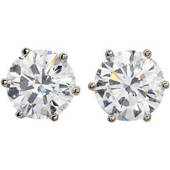 4.00 Carat GIA H/VVS2 Round Diamond Studs Six-Prong Earrings