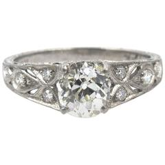 1.21 carat Old Mine Cut  GIA Cert Diamond Platinum Filigree Engagement Ring