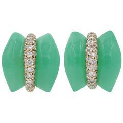 Australian Chrysophrase Diamond Pave Gold Earrings