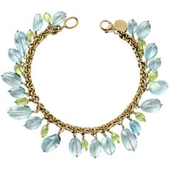 Julius Cohen Gold, Aquamarine and Chrysoberyl Bead Drop Bracelet