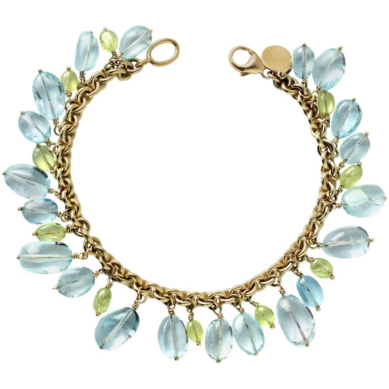 Julius Cohen Gold, Aquamarine and Chrysoberyl Bead Drop Bracelet For Sale