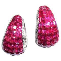 Ruby Diamond Gold Hoop Earrings