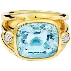 Cassandra Goad Aeneus Roman Aquamarine and Diamond Gold Ring