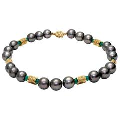 Cassandra Goad Tahitian Pearl Emerald Gold Necklace