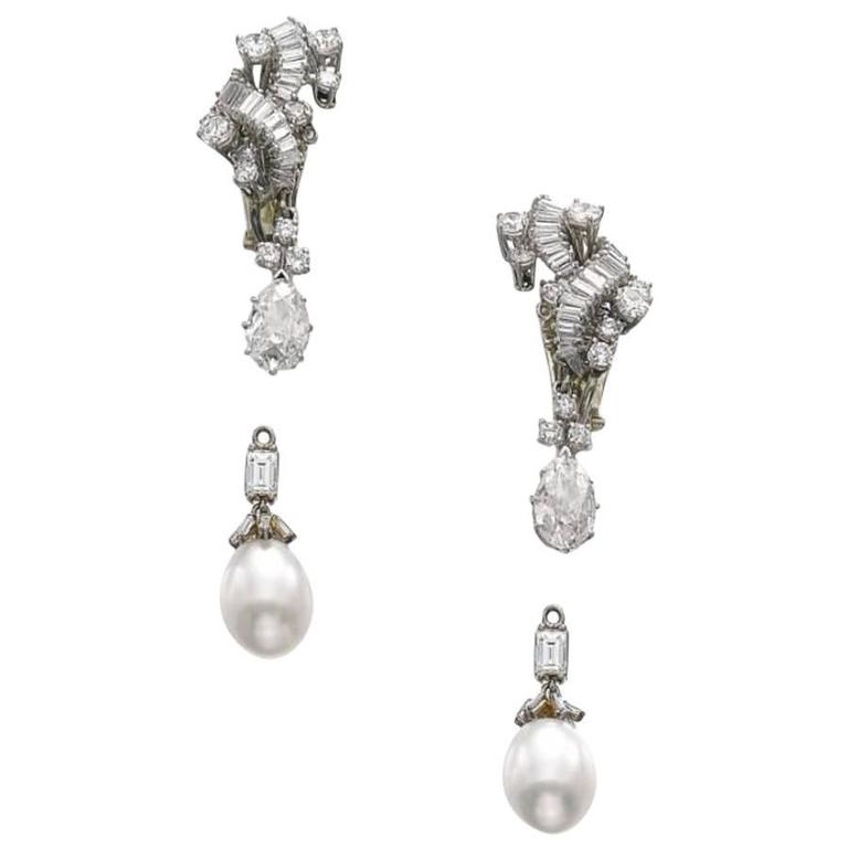 Detachable Pearl and Diamond Pendant Ear Clips in Platinum & 18k Gold, Vourakis