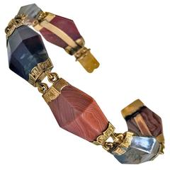 Antique Scottish Agate Gold Bracelet, circa 1875