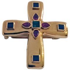 Cartier 18K Gem Crucifix Cross Pendant, 20th century