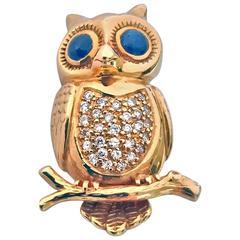 Boucheron 18 Karat Diamond and Sapphire Owl Brooch Pin, 20th Century