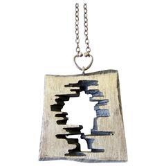 Sten and Laine Sterling Silver Brutal Modernist Necklace