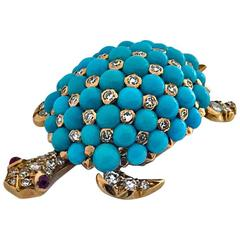 Exquisite 18K Turquoise Diamond Ruby Turtle Clip Brooch