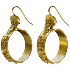 Victorian Pinchbeck Hoop Earrings
