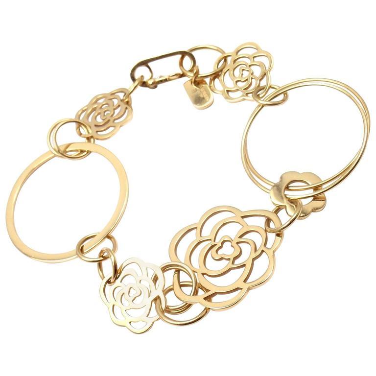 Chanel Camélia Camellia Sautoir Flower Link Yellow Gold Bracelet 1