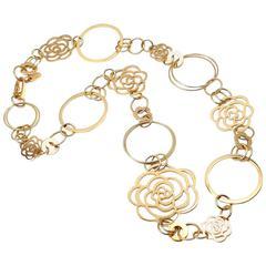 Chanel Camélia Camellia Sautoir Flower Link Yellow Gold Necklace