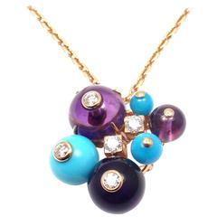 Cartier Delices De Goa Turquoise Amethyst Diamond Rose Gold Necklace