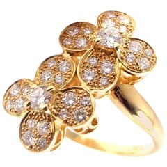 Van Cleef & Arpels Diamond Double Trefle Flower Yellow Gold Ring