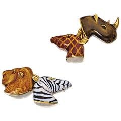 Multicolored Enamel Gold Safari Cufflinks