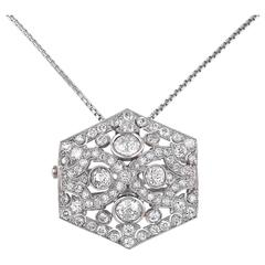 1920s Boucheron Paris Diamond Platinum Brooch Pendant