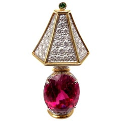 Tiffany & Co. Rubellite Tsavorite Diamond Yellow Gold Platinum Lamp Pin Brooch