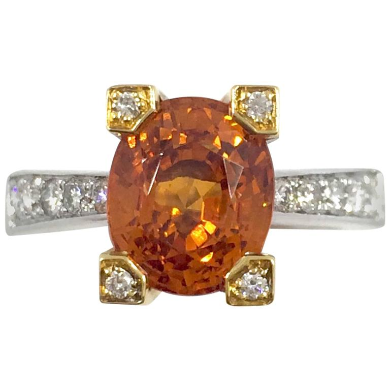 Garnet Diamond Gold Ring For Sale