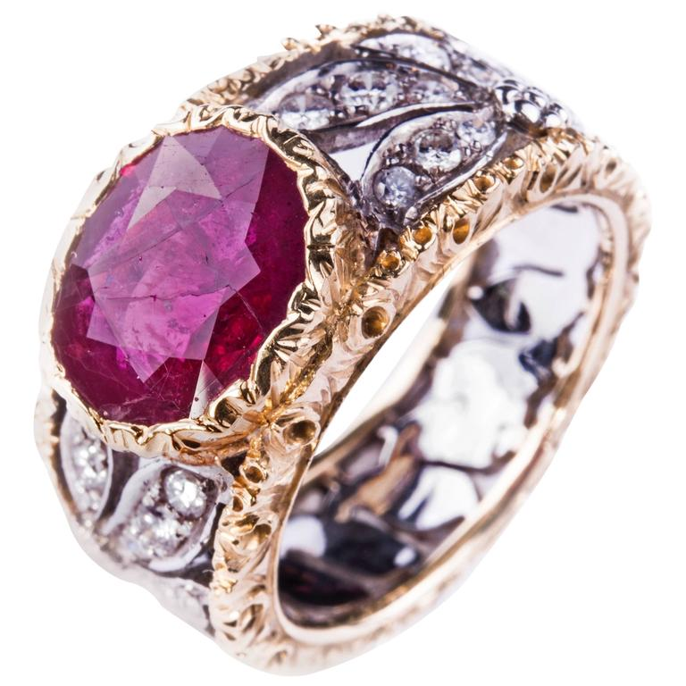 Buccellati Ruby and Diamond Ring
