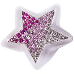 Rock Crystal, Pink Sapphire, Diamond and Gold Star Ring