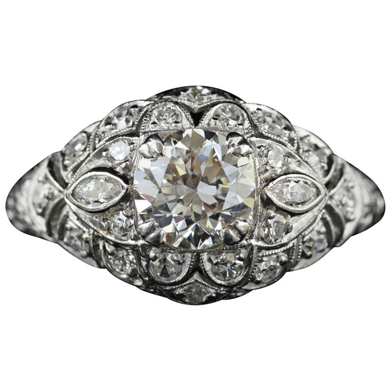 1920s Diamond  Platinum Engagement Ring
