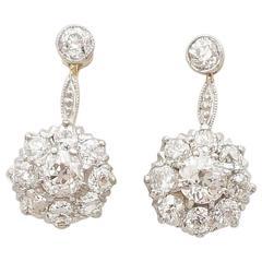Edwardian 2.30 Carat Dangling Diamond Stud Earrings