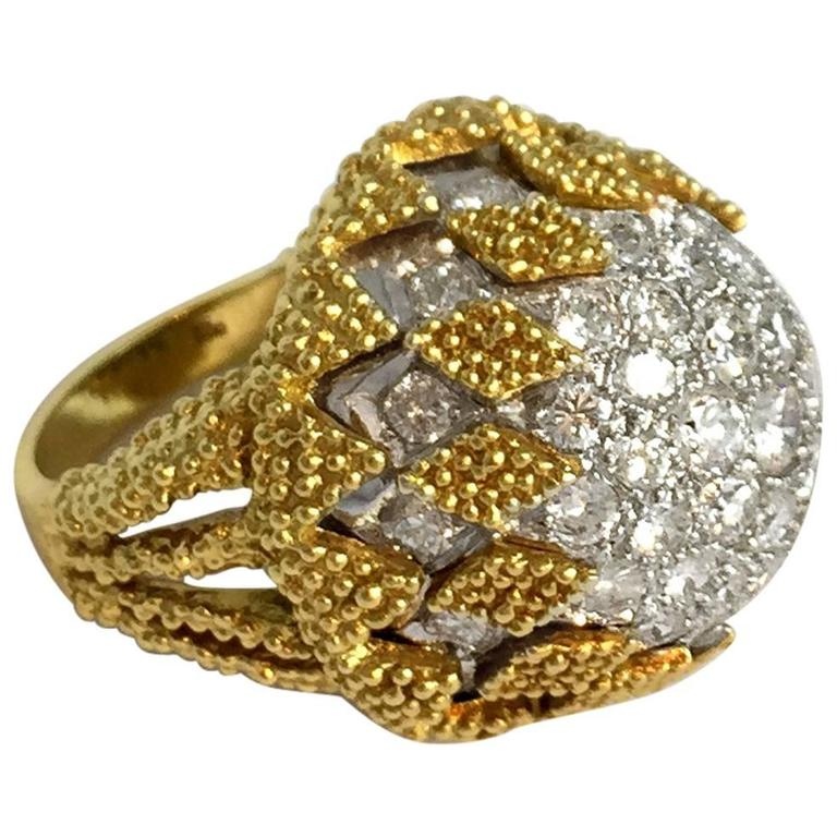 1960s Diamond Gold Platinum Domed Cocktail Ring