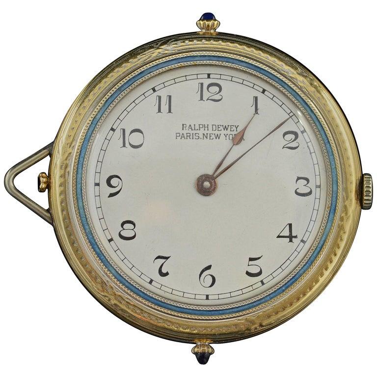 1920s Ralph Dewey Blue Enamel Gold Pocket Watch For Sale
