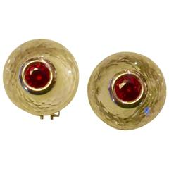 Rock Crystal Ruby Una Pietra Gold Stud Earrings