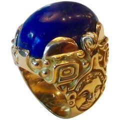 Lapis Lazuli Aztec Design Norah Pierson Gold Ring