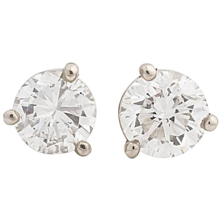 Martini Style Three-Prong Diamond Earring Studs