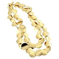 Roberto Coin Double Row Gold Disc Necklace