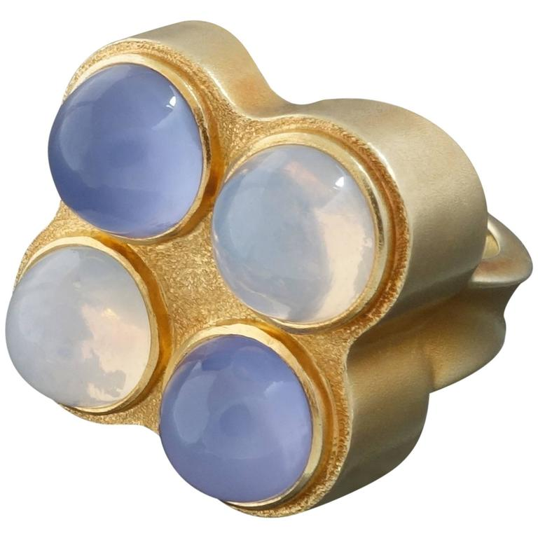unique modernist moonstone chalcedony gold cocktail ring