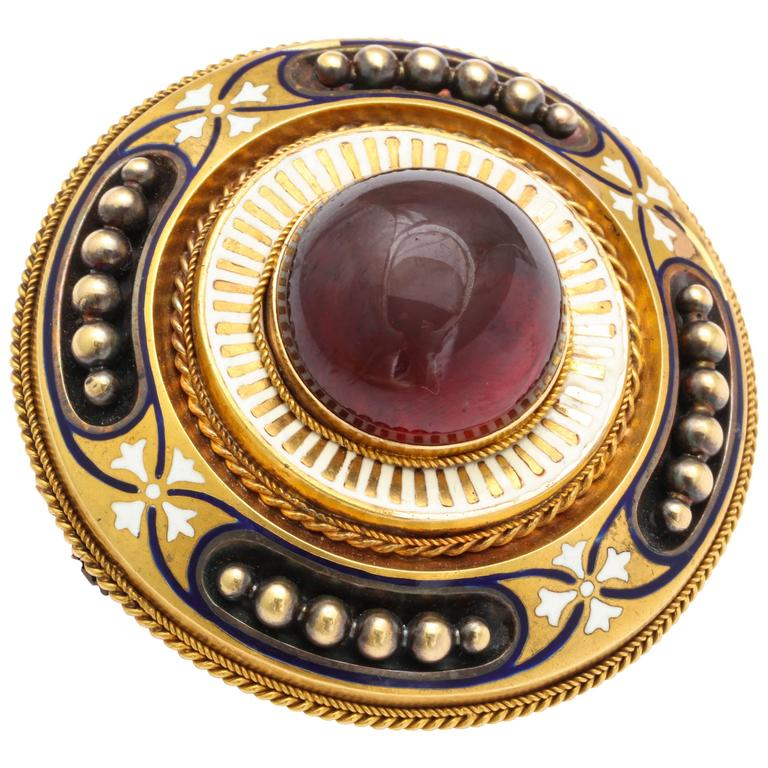 Antique Victorian Large Garnet White Enamel Gold Brooch 1