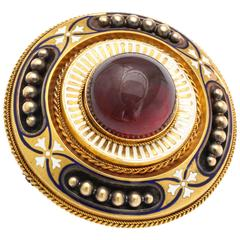 Antique Victorian Large Garnet White Enamel Gold Brooch