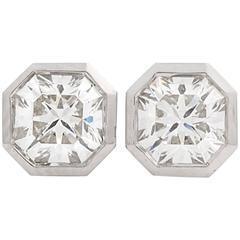 Tiffany & Co. Lucida Hexagon Diamond Platinum Earrings