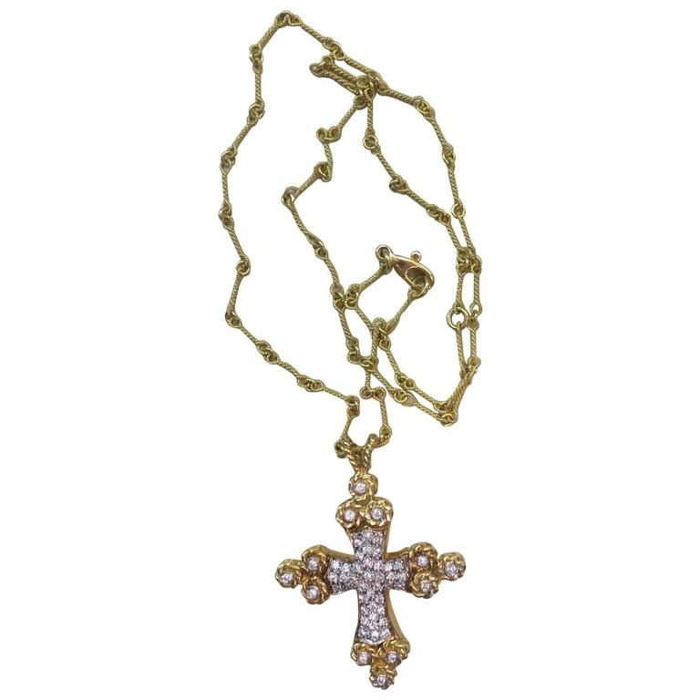 Cassis 18k yellow gold and diamond cross pendant suspended from 18 cassis 18k yellow gold and diamond cross pendant suspended from 18 chain for sale aloadofball Image collections