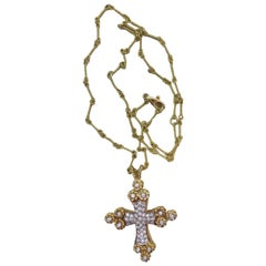 Cassis 18K Yellow Gold and Diamond Cross Pendant Suspended from 18 Chain