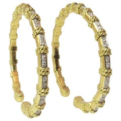 Pair of Cassis 18K Yellow Gold Diamond Bangle Bracelets with Rope Accent
